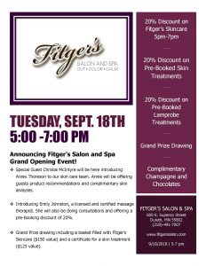 Fitger's Salon & Spa event flyer